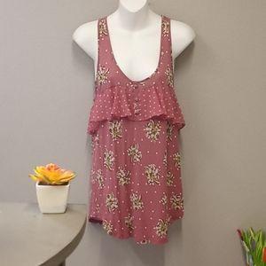 Lauren Conrad sz. L pink floral women's blouse